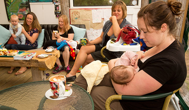 MILK WITH TEA: The Wetlands Cafe in Ashhurst has a policy that encourages breastfeeding. Liz Ricketts, left, with Sam, six months, Emmaleen Sarten with Rhett, 8 months, Rachel Hansen, and Penelope Parker with Athena, 10 weeks.