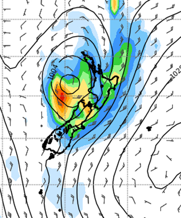 WAITING ON THE RAIN: A UK Met Office model shows Tropical Cyclone Lusi is likely to pass by Wellington and the lower North Island on Sunday.