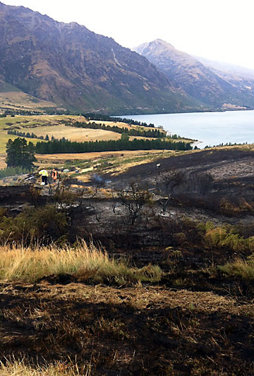 BLACKENED: The fire burnt through the Jacks Point.