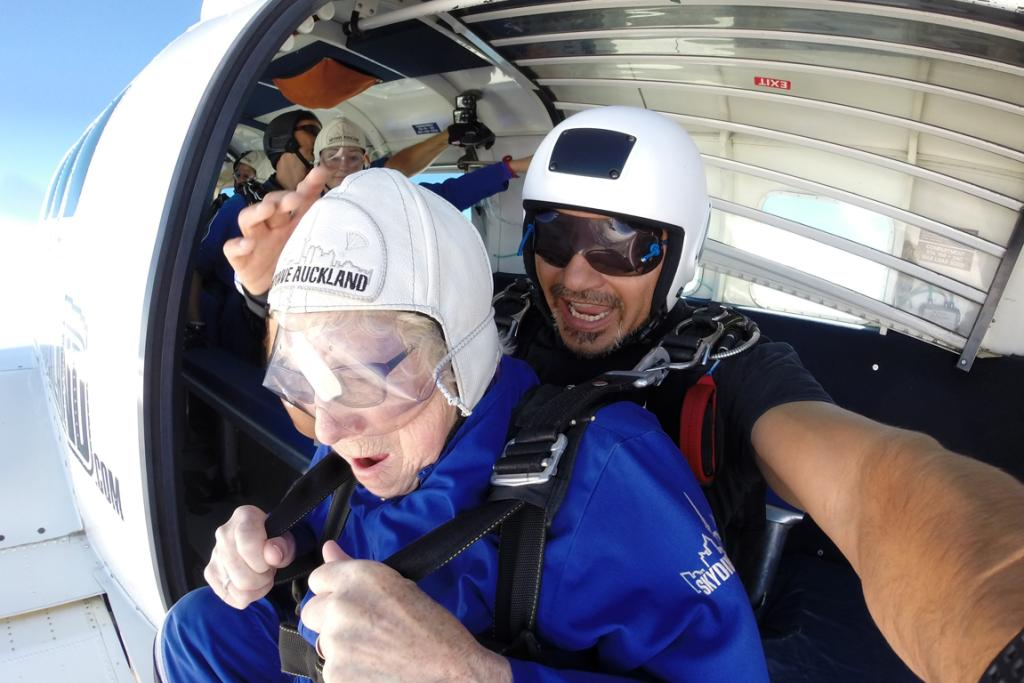 FREEFALL: Ruby Leach gets ready to freefall with Billy Thompson.