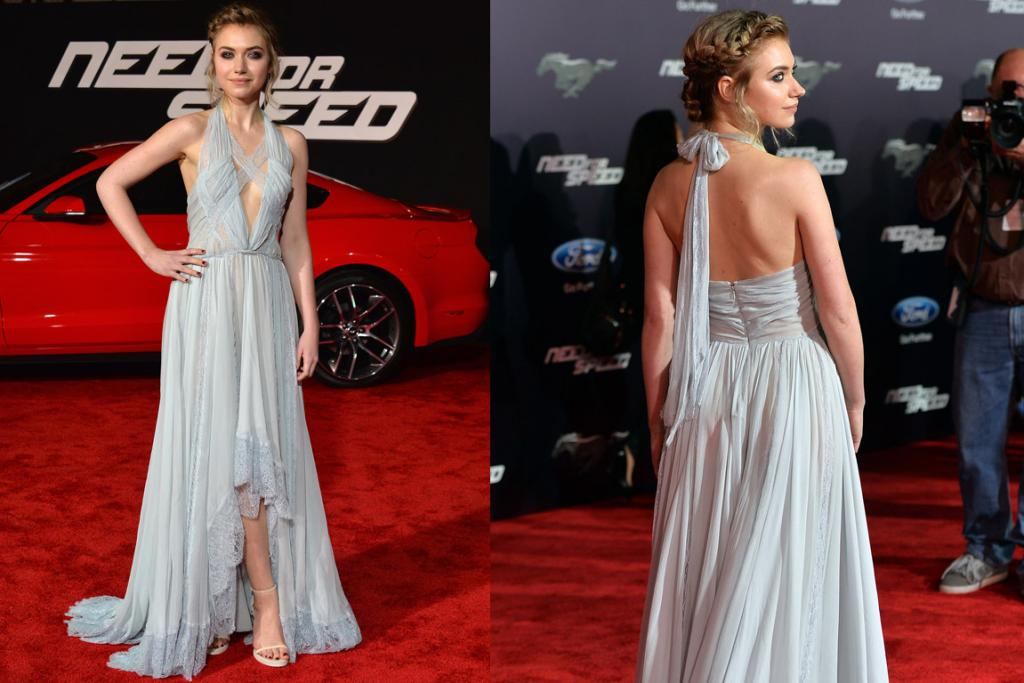 THE GOOD: While I do wonder if this eye makeup is a little harsh for such an uber-floaty Nina Ricci gown I ultimately don't care as Imogen Poots just looks so pretty in this explosion of chiffon and lace. Plus, a braided updo is always a win.