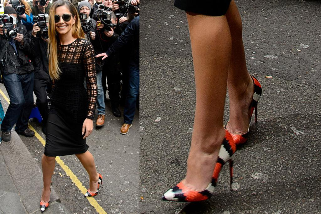 THE GOOD: I love the cage-meets-plaid lace detail of this Lela Rose dress on Cheryl Cole so much I really hope it filters down onto the high street in a big way. Queen Chez is also rocking those Christian Louboutin 'Decollette' pumps. What a babe.