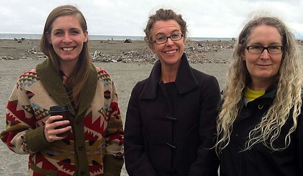 Eleanor Catton, publicist Kirsten McDougall and writer Elizabeth Knox