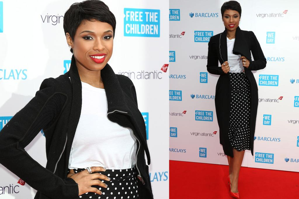 THE GOOD: This look is very simple but also super timeless and glam (I'm also a major sucker for a long, jacket-style cardigan: slouchy comfort disguised as something more weekday approp'. Aka, this homegirl's dream). Jennifer Hudson works this D&G skirt (which is a nice length on her) with a plain white T and a slick of red lippie. It's effortless and perfect for a daytime event.