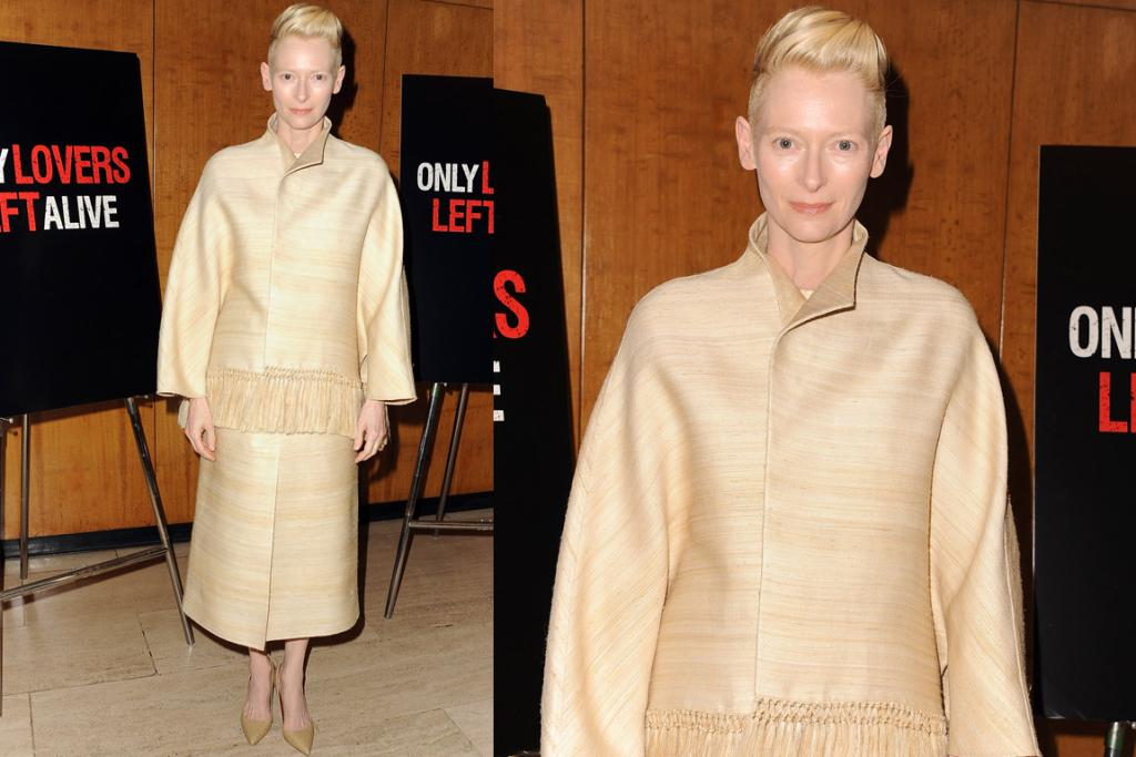 THE BAD: Is this a piece of installation art and is Tilda Swinton actually imitating throwaway bamboo plates in a stand against disposable living and its effect on the environment? Or perhaps she's playing a lamp in a weird experimental play with no words and just people standing, pretending to be props? No, she's wearing Valentino Couture and is only taking a stand against flattering clothes. (Most fashion critics will of course love this 'dahling' because its Swintonian and she can do no wrong but I call emperor's clothes).