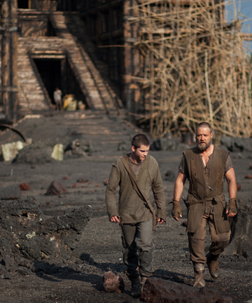 BUILDING AN ARC: Noah (Russell Crowe) and his son Ham (Logan Lerman) prepare for the apocalypse.