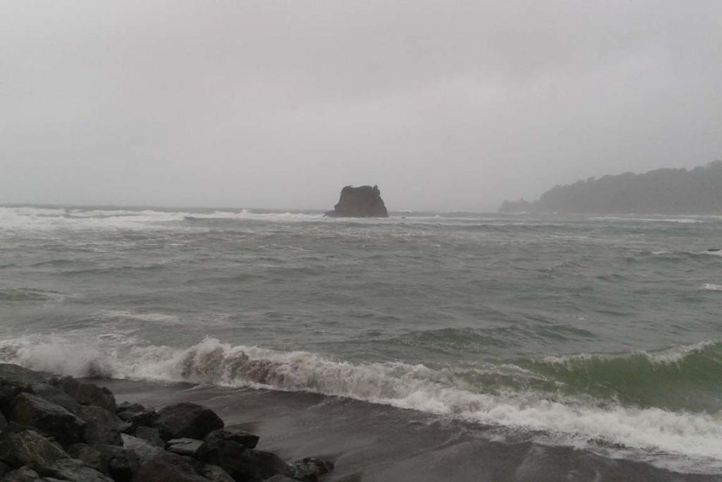 The storm whips up the sea at Mathesons Bay, Leigh, north of Auckland.