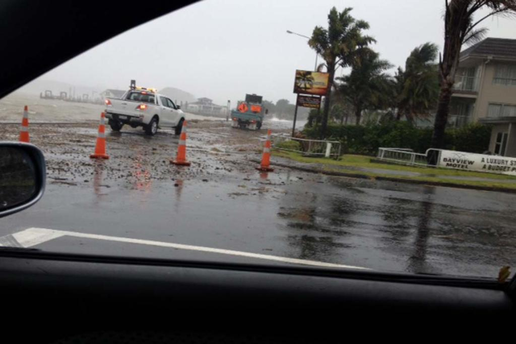 A road closed by debris in Paihia.