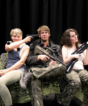Clare McDonald as Private Jessica Hammond, Jesse Stephens as Private Harold Winters, and Kelsey Toombs as Specialist Raven Malone
