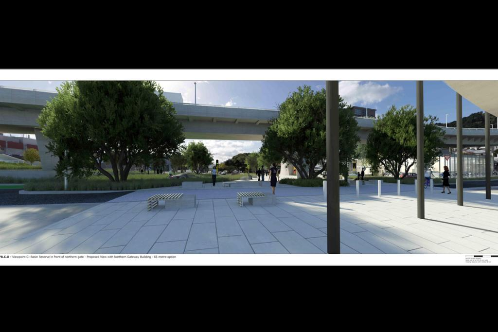 Basin Reserve in front of northern gate - Proposed view with Northern Gateway Building - 65 metre option.