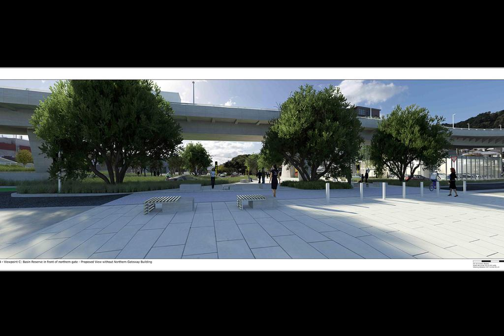 Basin Reserve in front of northern gate - Proposed view without Northern Gateway Building.
