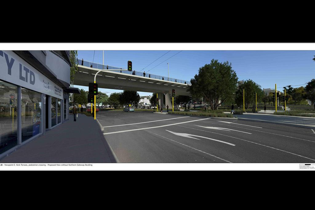 Kent Terrace, pedestrian crossing - Proposed view without Northern Gateway Building.