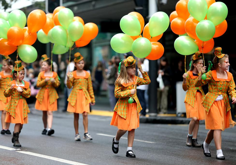 Performers entertain the crowds during the St Patrick's Parade on Auckland's Queen Street on Sunday afternoon.