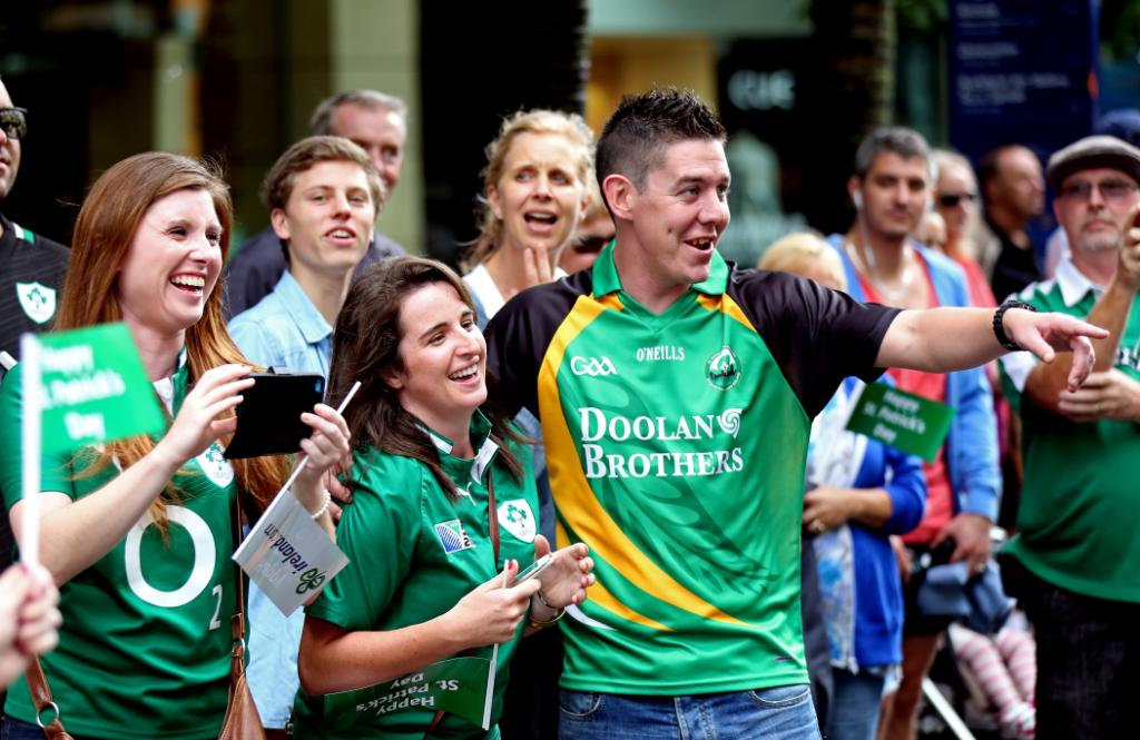 Crowds enjoy the St Patrick's Parade on Auckland's Queen Street on Sunday afternoon.