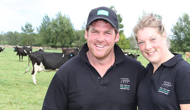 SHARING SPOILS: 2014 Southland Otago Sharemilker/Equity Farmer of the Year Steve and Tracy Henderson are aiming to have $1 million worth of assets by the age of 30.