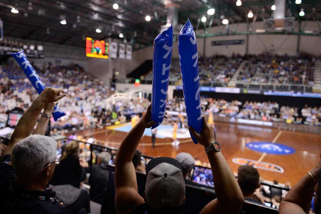 Breakers fans show their support against the Sydney Kings at the North Shore Events Centre.
