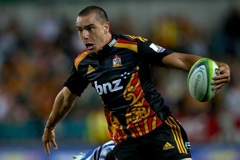 Chiefs wing James Lowe confronts the Stormers defence.