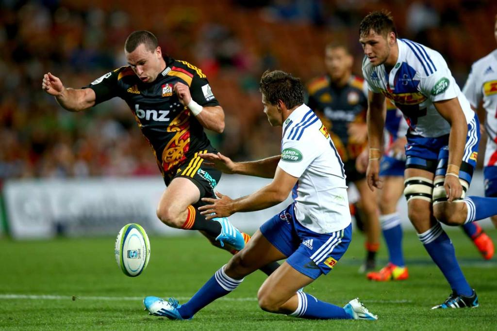 Tom Marshall toes the ball on in the Chiefs' impressive win over the Stormers.