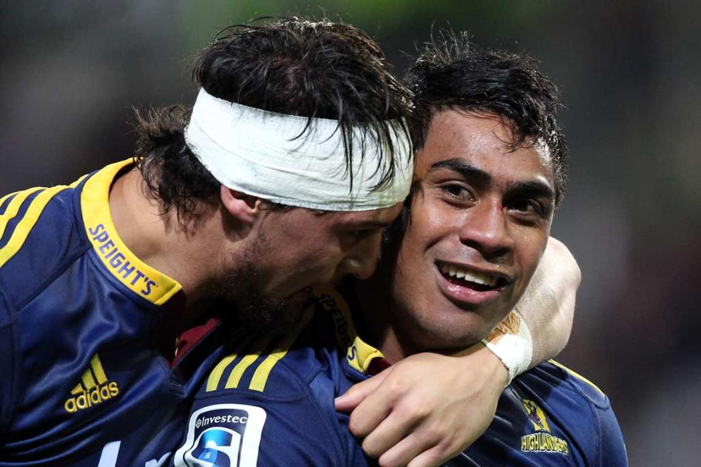 Elliott Dixon hugs Malakai Fekitoa after his second half try at Dunedin Stadium.