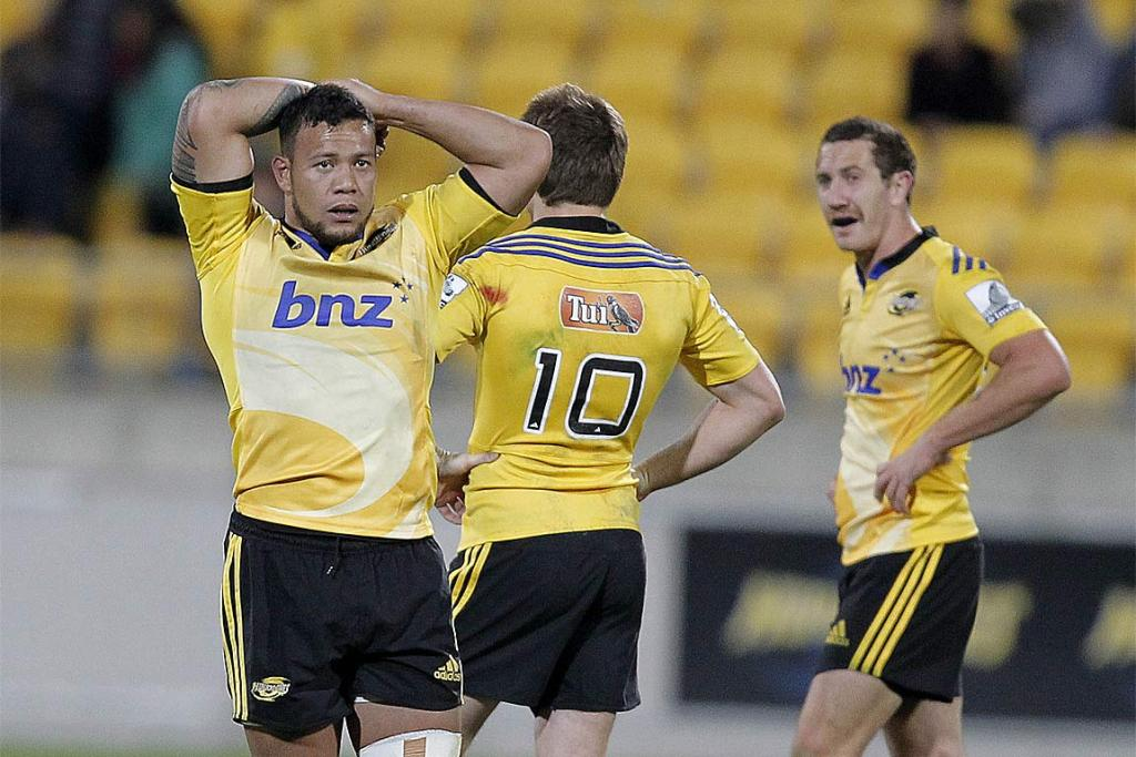 Hurricanes players cannot hide their dejection after losing to the Brumbies at home.
