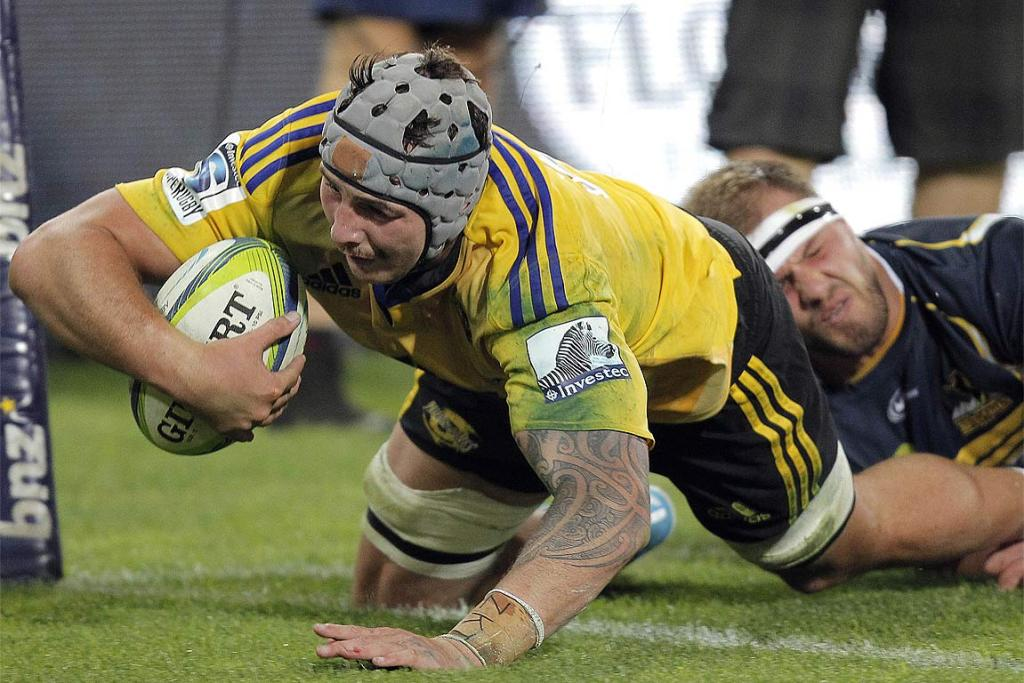 Blade Thomson goes over the score against the Brumbies in Wellington.