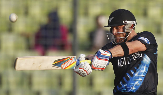 LONE HAND:New Zealand captain Brendon McCullum during his unbeaten 59, which couldn't prevent a six-wicket defeat in yesterday's World T20 warmup match in Dhaka.