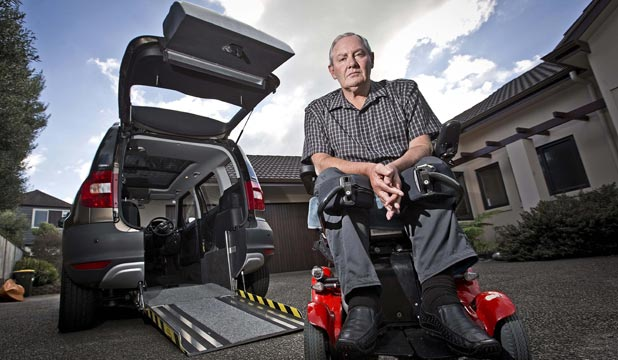 Lindsay McGregor is currently in a legal battle with the New Zealand Transport Association over the road worthiness of his Skoda car remodelled to accommodate his wheelchair.