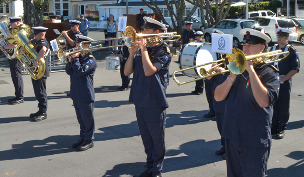 BEST PRACTICE: Rehearsing outside the Devonport Naval Museum the navy's 30-strong band has plenty of space, unlike their tiny recording studio, where the band had to record tracks in shifts.