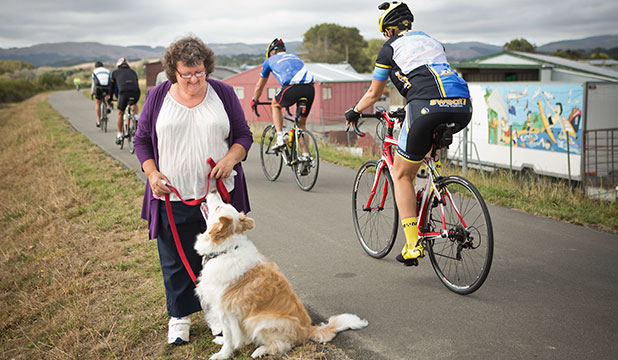 BEST FRIEND: Christine Greene was with her dog, Sam, when a cyclist sped past and hit Sam on the riverside walkway by Ruahine St.