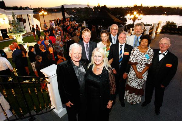 FIGHTING FOR FUNDING: Medical Research Foundation patrons Sir William and Lady Judi Gallagher host a fundraising launch at their house, flanked by members of the the trust's board and fundraising teams. Middle, from left: Russell Mayhew, Andrea Downey, Brian King, Peta Karalus and Dr Noel Karalus. Back: Peter De Luca and Dr Michael Jameson.