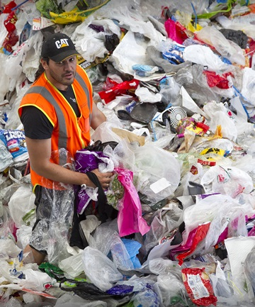 PLEASE, NO MORE: Peter Siddall, Awapuni Operations Manager, with just over an hour's worth of plastic shopping bags.