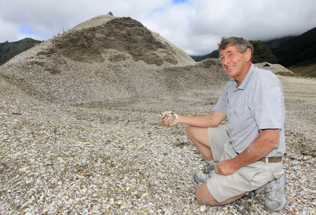 Shell mountain: Havelock farmer Bill Brownlee, who has developed a mussel shell fertiliser, with the enormous mussel shell hill on his farm.