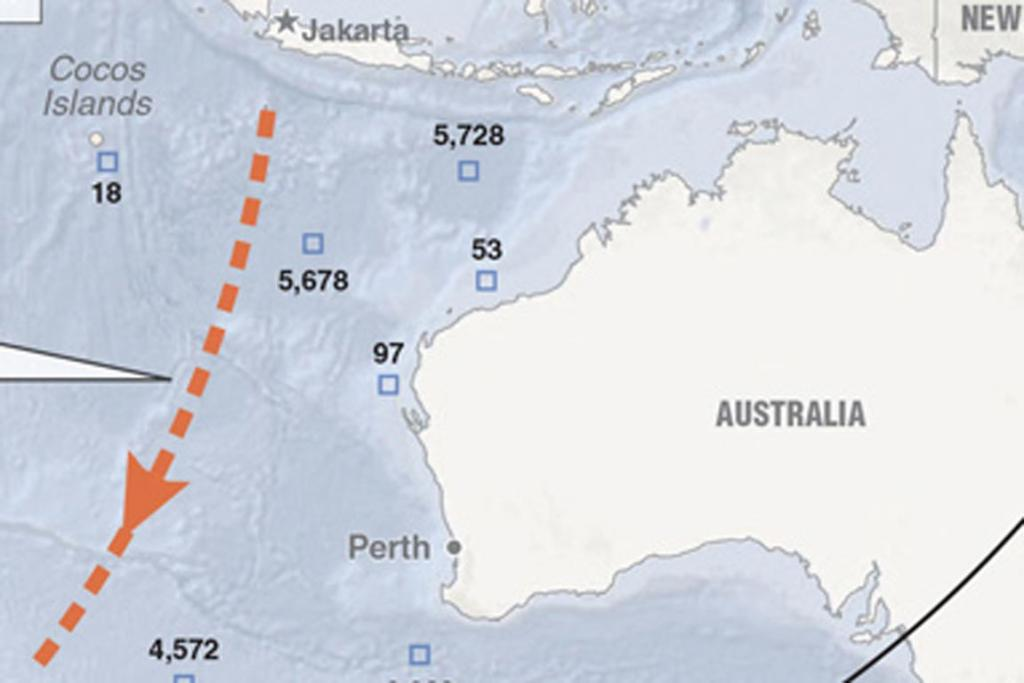 Or somewhere southwest of Australia, on a possible flight path shown in orange.