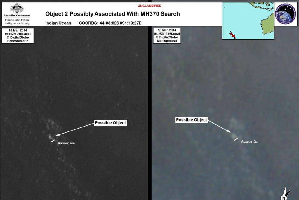 "Satellite photos from March 20 show the objects ""possibly associated"" with the search for the missing plane. The images were released hours after Australia announced it had ""credible"" leads in the search for flight MH370."