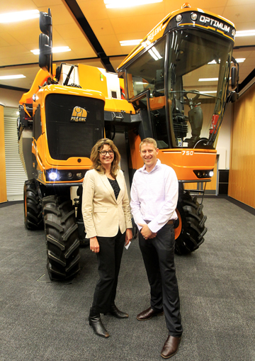 New machine: Pellenc Agriculture sales and marketing export director Florence Menard and Hydralada South Island salesman Andrew Higgins were in Marlborough last week to showcase the latest Pellenc harvester