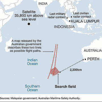The area in which wreckage of Malaysia Airlines Flight MH370 may have been spotted.