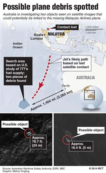 Flight MH370 possilbe debris find graphic