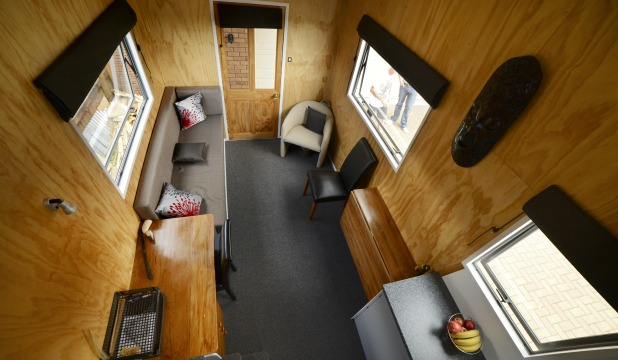 The interior of Auckland tiny house owner Brett Sutherland's 15 square metre pride and joy.