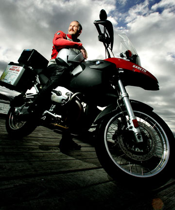 KOREA ENDING: Gareth Morgan during one of his motorbike campaigns, this time in Korea.