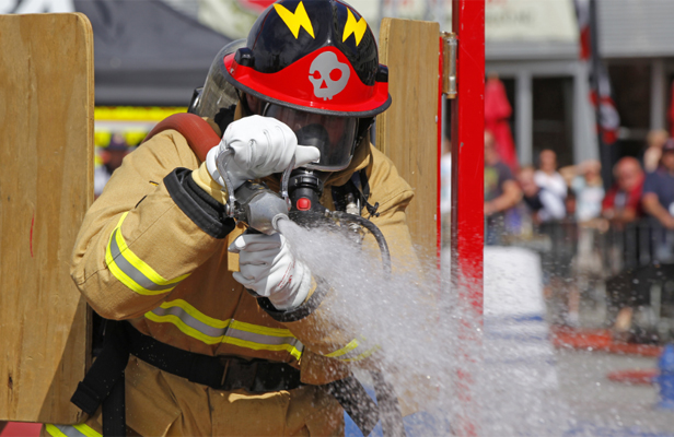 Dean Southey from Greytown competing in the National Firefighter Combat Challenge in Wellington.
