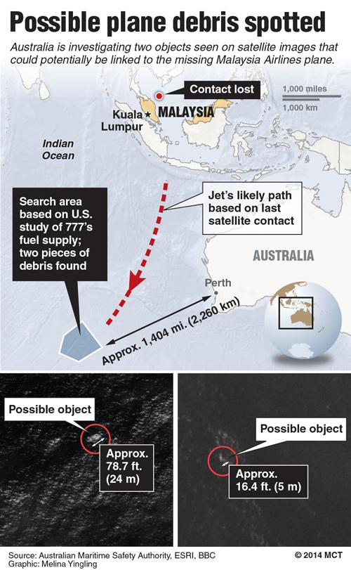 Map of the southern Indian Ocean locating site where a satellite may have found debris related to Malaysia Airlines Flight 370; includes satellite images of possible debris. MCT