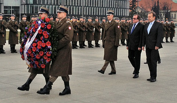 IN EUROPE: Minister McCully attends a wreath-laying ceremony at the Tomb of the Unknown Soldier during his official visit to Warsaw, Poland, earlier this week.
