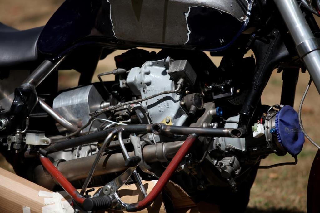 Under construction: Chris Minnee's helicopter turbine-powered motorcycle.