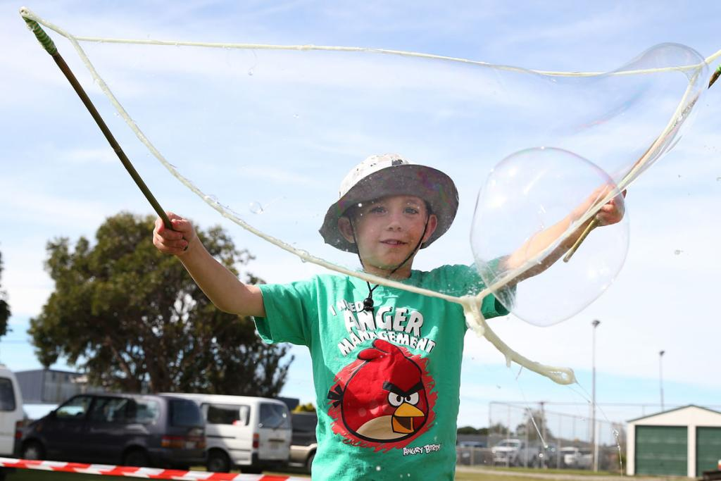 Lachlan Dixon, 7, of Wreys Bush with the giant bubbles.