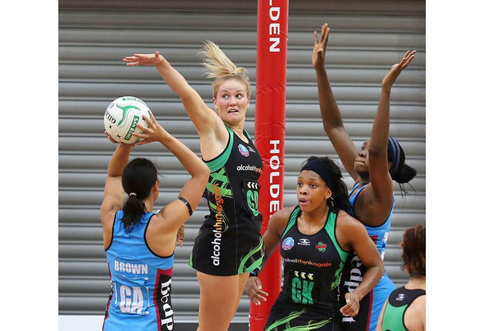 Steel's Jodi Brown shoots with Fever's Courtney Bruce, Eboni Beckford-Chambers and Steel's Jhaniele Fowler-Reid.