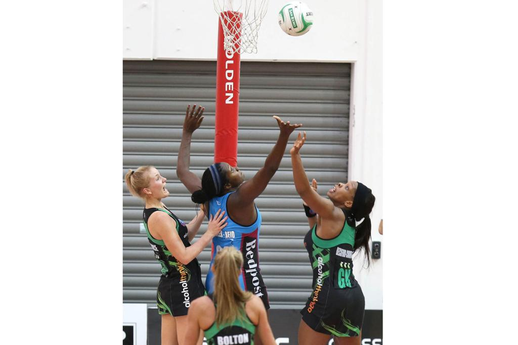 Steel's Jhaniele Fowler centre, with Fever's Courtney Bruce, left, and Eboni Beckford-Chambers.