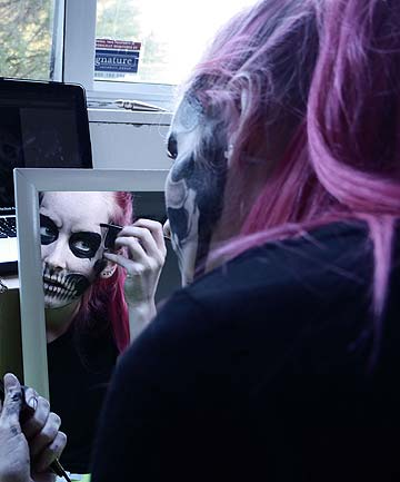 NO FUN: Nicole Wilcox is a spook at a theme park but received a real life shock over online identity theft.