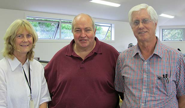 Enliven Counties Manukau manager Sue Spencer, minister Tony Spandow, and St Paul's board member Les Parlane
