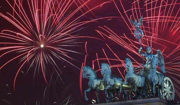 CELEBRATION: Fireworks over the Brandenburg Gate in Berlin. Peter Wilton moved to the city for a year, and has stayed 43 years.
