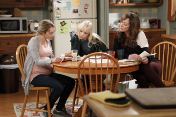 Anna Faris, centre, plays Christy, a single mum with a dysfunctional family. Her teen daughter Violet (Sadie Calvano) is pregnant and her mother Bonnie (Allison Janney) is a recovering alcoholic (as is Christy).